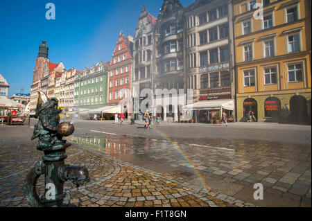 The medieval market square of the Rynek in Wroclaw, Poland. - Stock Photo