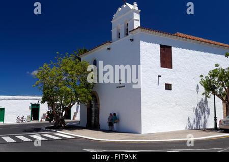17th Century Nuestra Señora de los Remedios church, Yaiza, Lanzarote, Canary Islands, Spain. - Stock Photo