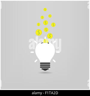 creative light bulb,saving sign,ideas concepts,business background.vector illustration - Stock Photo