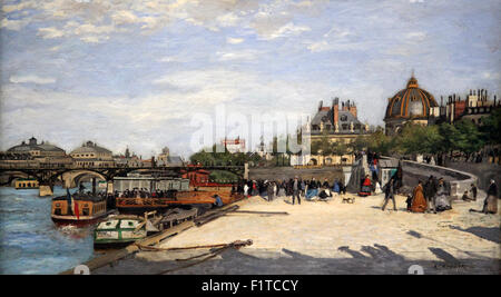 The Pont des Arts Paris by Pierre Auguste Renoir 1841-1919.Paris France - Stock Photo