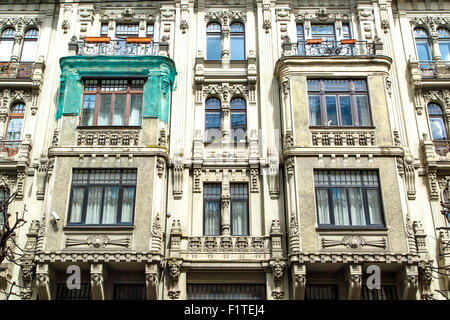 Close up bottom view of jugendstil style building of art nouveau in Alberta Street in Riga, Latvia. - Stock Photo