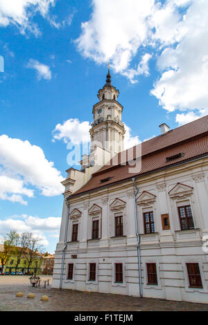 Side view of Town Hall building in town hall square of Kaunas old town, Lithuania, built in 16th century, on cloudy - Stock Photo