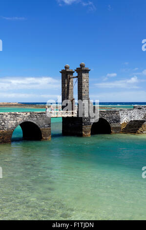 Puente de las Bolas (Bridge of the Balls) drawbridge Arrecife capital city of Lanzarote, Canary Islands, Spain. - Stock Photo