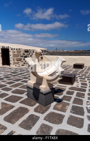 Sundial on roof of Castillo de San Gabriel, Arrecife, Lanzarote, Canary Islands, Spain. - Stock Photo