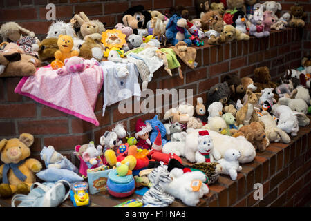 Dortmund, Germany. 07th Sep, 2015. Donated toys for arriving refugee children at a support facility for refugees - Stock Photo