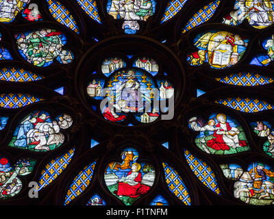 Detail from the Rose Window at the Rear of Sainte Chapelle. The center of the rose window at the back of Stainte - Stock Photo