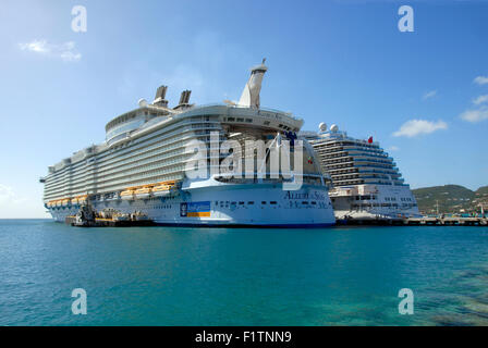 Two cruise liners in port, St Maarten, Caribbean - Stock Photo