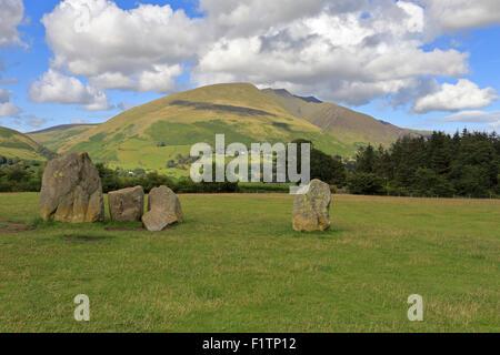 Castlerigg Stone Circle and Blencathra mountain, Cumbria, Lake District National Park, England, UK. - Stock Photo