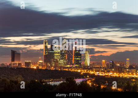 Moscow City Skyscrapers sunset - Stock Photo