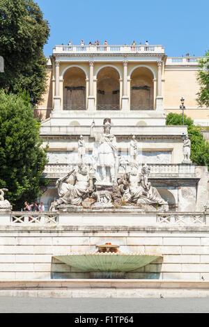 Fontana della Dea Roma in Piazza del Popolo Rome Lazio Italy EU Europe - Stock Photo