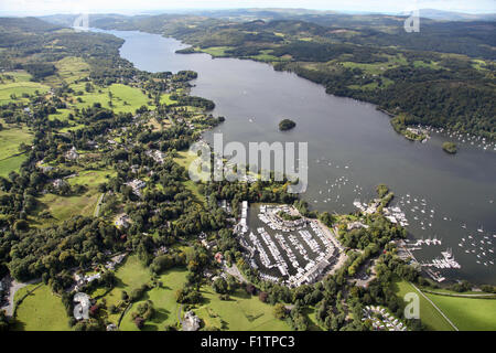 aerial view of Windermere Marina Village on Lake Windermere, Cumbria, UK - Stock Photo