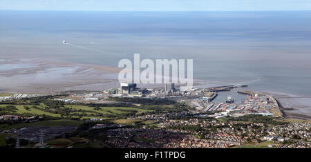 aerial view of Heysham in Lancashire with its two nuclear power station and a harbour, UK - Stock Photo