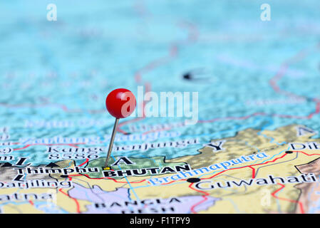 Thimphu pinned on a map of Asia - Stock Photo