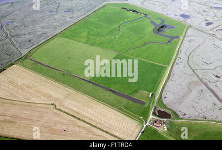 aerial view of reclaimed farm land in the Ribble Estuary at Hutton, Lancashire, UK - Stock Photo
