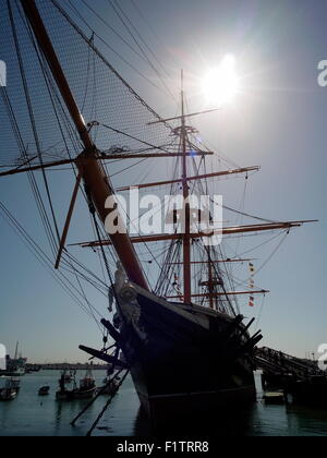 AJAXNETPHOTO. 4TH JUNE, 2015.PORTSMOUTH, ENGLAND. - WARRIOR GETS HERITAGE LOTTERY FUNDING - THE 1860 SHIP NEEDS - Stock Photo