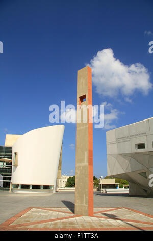 Israel, the new wing of the Tel Aviv Museum of Art (right) and the New Cameri Theatre - Stock Photo