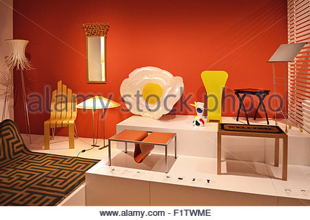 Modern products displayed at Museu Del Disseny (Design Museum) of Barcelona, Catalonia Spain Europe - Stock Photo