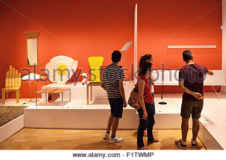 Visitors at Museu Del Disseny (Design Museum) in Barcelona Catalonia Spain Europe - Stock Photo