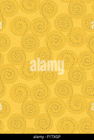 Abstract seamless pattern background. Dashed line swirls, spirals, circles and dots. Brown, white on yellow - Stock Photo