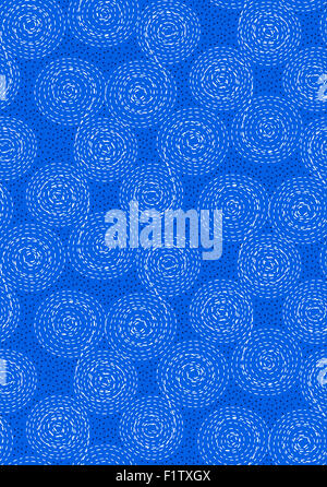 Abstract seamless pattern background. Dashed line swirls, spirals, circles and dots. White on dark blue - Stock Photo