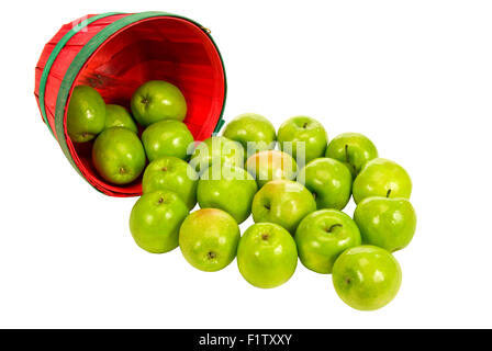Basket Full Of Apples Spilling Out on White Background - Stock Photo