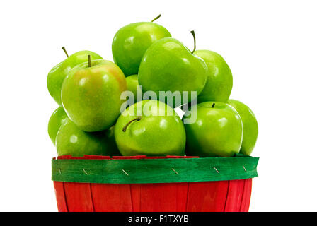 Delicious Apples Close Up In Small Basket Fresh Picked and Ready to Eat.  Isolated on white background - Stock Photo
