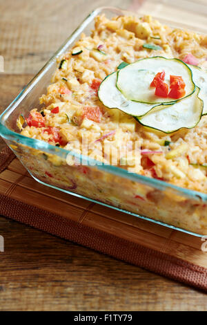 Vegan Zucchini Rice Casserole - Stock Photo