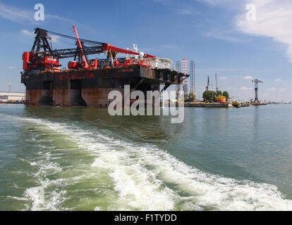 ROTTERDAM, THE NETHERLANDS - AUGUST 9, 2015: View on the Port of Rotterdam, South Holland, The Netherlands. Rotterdam - Stock Photo