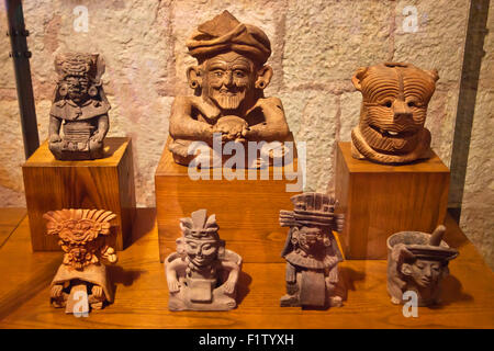 ZAPOTEC FIGURES taken from tombs in the CULTURAL MUSEUM OF OAXACA or Museo de las Culturas de Oaxaca - MEXICO - Stock Photo