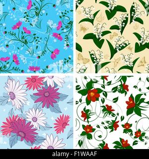 Floral Seamless Pattern Set. Elegant Design With Beautiful Flowers, Butterflies and Birds on Color Background. Floral - Stock Photo