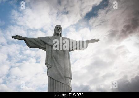 Corcovado Hill in Rio de Janeiro, Brazil - Stock Photo