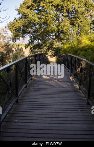 Bridge over the Eerste River at the Spier Hotel in Stellenbosch - Stock Photo
