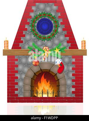 fireplace with christmas decorations vector illustration isolated on white background - Stock Photo