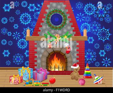 fireplace room with christmas gifts and decorations vector illustration - Stock Photo