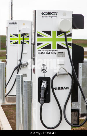 Nissan ecotricity point at the new Gloucester Services on the M5 motorway, Gloucestershire, England, UK - Stock Photo
