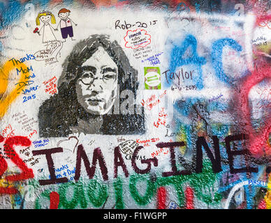 Detail shot of graffiti on  the John Lennon Wall, Prague, Czech Republic. - Stock Photo