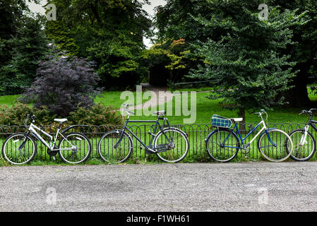 Bicycles parked against a railing. - Stock Photo