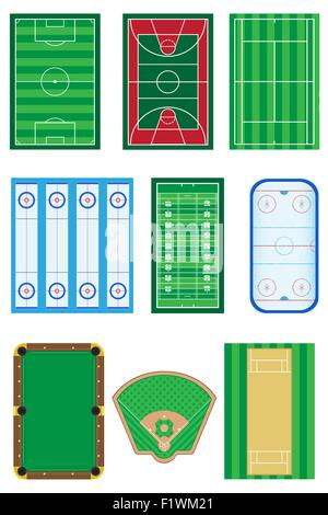 fields for sports games vector illustration isolated on white background - Stock Photo