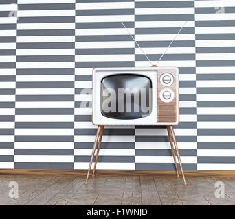 vintage television over white& black  background. 3d concept - Stock Photo
