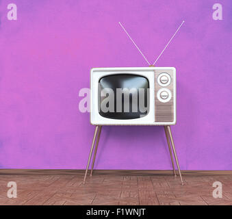 vintage television over pink background. 3d concept - Stock Photo