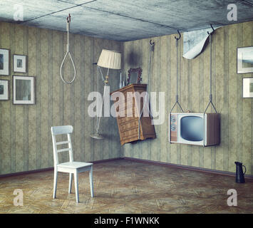 an urgent need to make repairs interior. 3d concept - Stock Photo