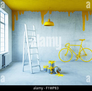 white interior with painted ceiling.3d concept - Stock Photo