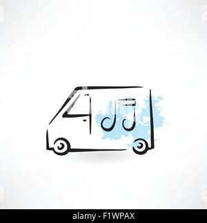 music lorry grunge icon - Stock Photo