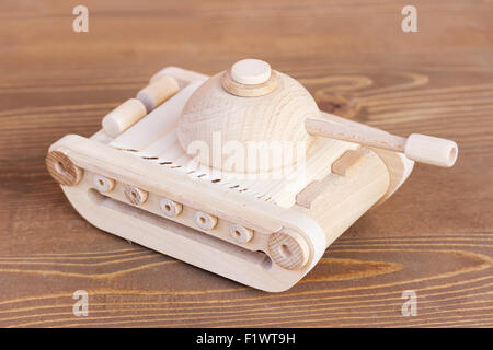 wooden model of tank. - Stock Photo