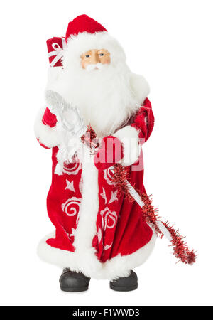 Santa Claus toy isolated on the white background. - Stock Photo