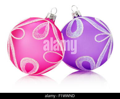 pink and purple Christmas balls isolated on the white background. - Stock Photo