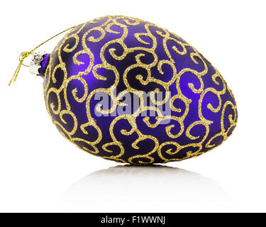 purple with golden ornament Christmas ball isolated on the white background. - Stock Photo