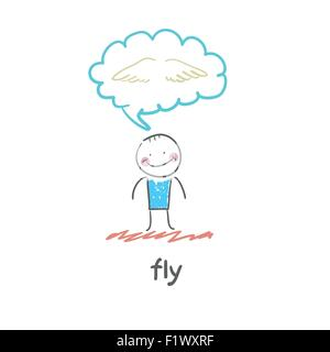 fly. Fun cartoon style illustration. The situation of life. - Stock Photo