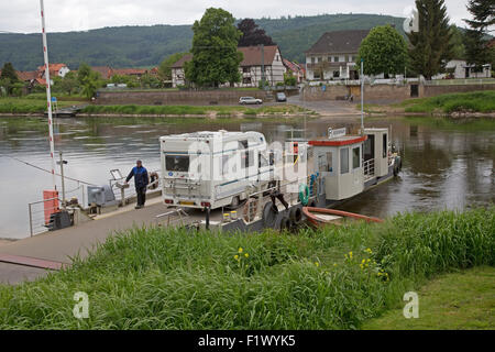 Cable car ferry over Weser River Reinhardshagen near Hann Munden Germany - Stock Photo