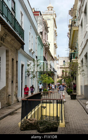 Havana Calle Teniente Rey in City Centre near Plaza Vieja - Havana Cuba - Stock Photo